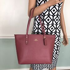 NEW! COACH Crossgrain Leather Zip Tote Shoulder Bag Purse Rouge Pink