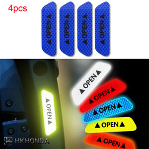 4pcs Safety Reflective Tape Open Sign Warning Mark Car Door Stickers Blue