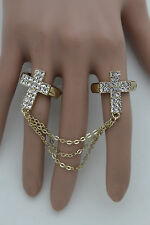 Women Gold Long Metal Chains Fashion Jewelry Double Rings 2 Fingers Cross Charm