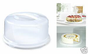 Plastic Cake Box Tub With Clips Handle Storage Containers Carriers Airtight Lid