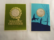 Pair of Franklin Mint Christmas Cards w/ Medals 1970 1968 Vintage Vgc Free ship