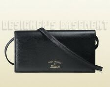 GUCCI black SWING gold TRADEMARK wallet with strap MINI bag NIB Authentic $660!