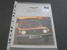 VOLVO 240 brochure catalogue documentation - année modèle 1978