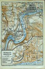 SCHAFFHAUSEN, alter farbiger Stadtplan, datiert 1913