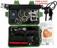 SURVIVAL KIT 35 Essential Pieces Mulit-tool Fire Starter Led Light WATER TIGHT