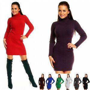 Zeta Ville - Women's Stretch Ribbed Knit Dress Roll Turtle Neck Long Sleeve 417z