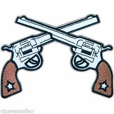 Gunfighter Six Guns Pistols Cowboy Western Police Biker Iron-On Patches #0607