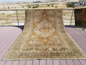 Masterpiece Late 1925's Antique Wool Pile, Muted Dye Oushak Rug 7x12ft