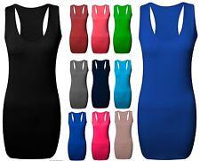 New Ladies Long Racer Back Bodycon Muscle Vest Women Gym Maxi Top UK Size 8-26.