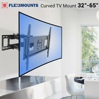 "Curved UHD ULED TV Wall Mount Swivel LCD LED Full Motion 40 42 48 50 55"" 60 65"""