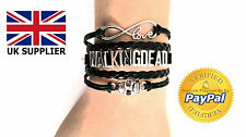 Walking Dead Skull Charm Braclet Wrap Braided Leather Bracelet Bangles