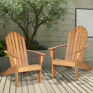 Costway 2PCS Wooden Classic Adirondack Chair Lounge Chair Outdoor Patio Natural