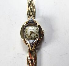 Vintage 1947 Bulova 10K Gold Filled Diamond 17J 6AH Mechanical Wristwatch As-Is