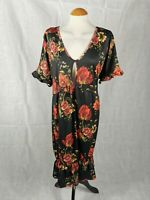Ladies Dress Size 28 BOOHOO Black Red Floral Stretch Smart Party Evening