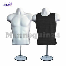 2 Pack Male Mannequin Form & Hanger + Stand White Body Dress Form For T Shirt