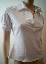 ANNE FONTAINE white Pima Coton mélangé avec col à manches courtes chemisier femme Sz42 UK14