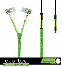Green Zip Zipper Style Tangle Free Hands free In-Ear Earphones
