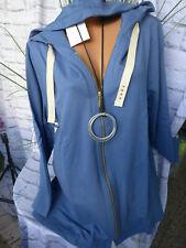 Sweatjacke Sheego Kapuze Damen Gr. 44/46 bis 56/58 blau (718)