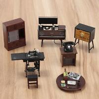 1:12 Dollhouse Mini Furniture Set Vintage Telephone Table TV Sewing machine PC