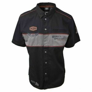 Harley-Davidson Men's Black Iron Block Short Sleeve Woven Shirt (S02)