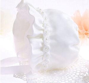 Baby Shower kid Girl Princess Christening creamy White hat beanie cap Bonnet
