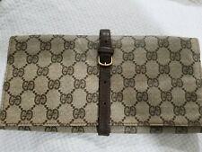 AUTHENTIC GUCCI JEWELRY ROLL TRAVEL CASE VINTAGE GG LEATHER POUCH RARE