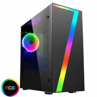 CiT LED Seven Gaming Micro ATX PC Case Rainbow RGB Fan Acrylic Glass Window mATX
