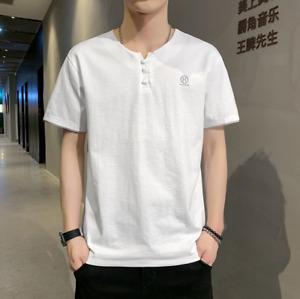 Men's T-shirt Summer Ice Silk T-shirt Trend Loose Cotton Linen Half Sleeve