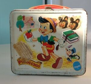 Vintage Disney Pinocchio Metal Lunch Box Aladdin No Thermos~Has Stickers On It
