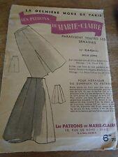 """ANCIEN PATRON """"LES PATRONS DE MARIE CLAIRE 2 VERSIONS  JUPES  T 44  ANNEE 50"""