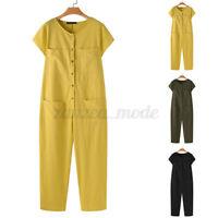 ZANZEA Womens Buttons Crew Neck Jumpsuit Ladies Pockets Playsuit Long Pants