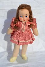 Vintage cloth doll with painted face red gingham dress oilcloth shoes