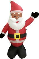 Black African American Santa Claus 4' Inflatable Airblown Christmas Yard Decor