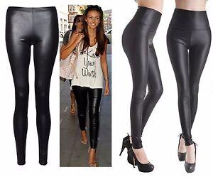 Sexy Ladies High Waist Wet Look Faux Imitation Leather Leggings Pants Disco Legg