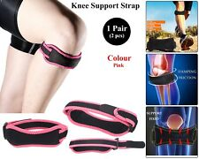 Adjustable Knie Support Brace Strap Patella Pees Runner Reliëf Pijn Roze Pair