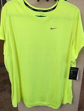 NWT NIKE DRI FIT 3X MILER TEE SHIRT WOMENS PLUS VOLT YELLOW NK068