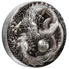 Tuvalu 5 Dollar 2018 - Chinesische Fabelwesen - Drache 5 Oz Silber Antik Finish