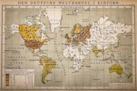 German World Trade Import Antique Style Map Poster 24x36 inch