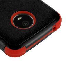 MOTOROLA MOTO E4 PLUS XT1773 BLACK RED DUAL LAYER TUFF IMPACT RUBBER CASE COVER