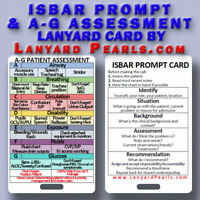 ISBAR + A-G Assessment card for deteriorating patient - Nursing Lanyard Card