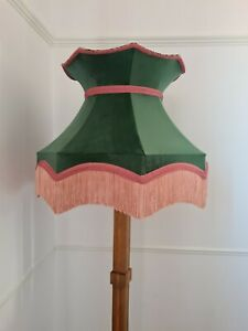 Handmade large crown Lisa lampshade green velvet leopard standard lamp pendant