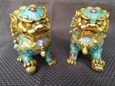 A Pair Chinese Cloisonne Copper Statue - Lion Foo Dog NEW