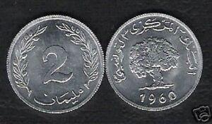 TUNISIA 2 MILLIM KM281 1960 TREE UNC COIN LOT 50 PCS AFRICA CURRENCY BULK MONEY