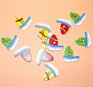 12 Wooden Sailing Boats Card Topper Embellishments