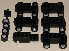 LEGO LOT OF 6 WIND UP PULL BACK MOTORS BLACK CARS BLACK SLICK WHEELS