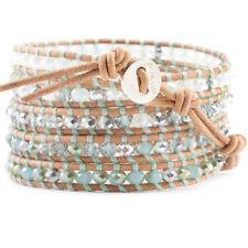 Chan Luu Jewelry Mint Green Chinese Crystal Mix Wrap Bracelet w/Beige Leather