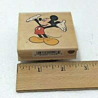 """Mickey Mouse 2"""" Rubber Stamp Disney Wood Block 2 1/2"""" x 2 1/4"""" All Night Media"""