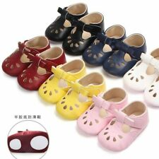 Infant Baby Girls Rubber Soles Walking Shoes Buckle Strap Closure Solid Footwear