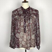 Lucky Brand Women Sz M Top Blouse Shirt Sheer Floral Metallic Stripe Tie Neck