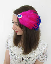 Hot Pink & Blue Silver Feather Headpiece Vintage 1920s Flapper Headband Deco Q71